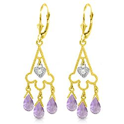 ALARRI 4.83 CTW 14K Solid Gold Chandelier Diamond Earrings Amethyst