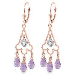 ALARRI 4.83 Carat 14K Solid Rose Gold Chandelier Diamond Earrings Amethyst
