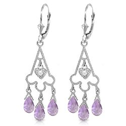ALARRI 4.83 Carat 14K Solid White Gold Chandelier Diamond Earrings Amethyst