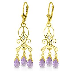 ALARRI 4.81 CTW 14K Solid Gold Chandelier Diamond Earrings Amethyst