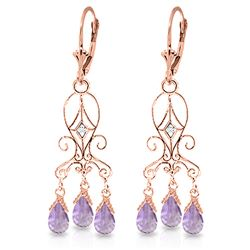 ALARRI 4.81 CTW 14K Solid Rose Gold Chandelier Diamond Earrings Amethyst