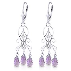 ALARRI 4.81 CTW 14K Solid White Gold Chandelier Diamond Earrings Amethyst