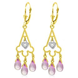 ALARRI 4.83 Carat 14K Solid Gold Chandelier Diamond Earrings Pink Topaz