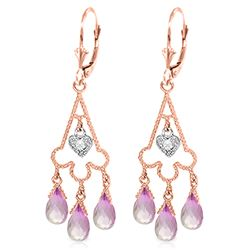 ALARRI 4.83 Carat 14K Solid Rose Gold Chandelier Diamond Earrings Pink Topaz