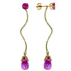 ALARRI 6.8 CTW 14K Solid Gold Stud Drops Earrings Natural Pink Topaz