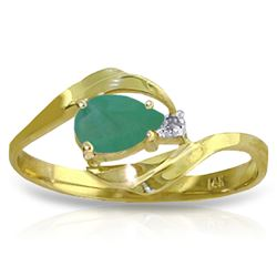 ALARRI 0.51 CTW 14K Solid Gold Ring Natural Diamond Emerald