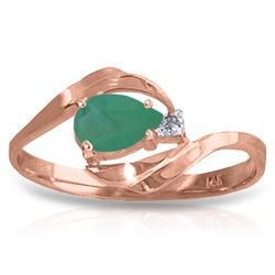 ALARRI 0.51 CTW 14K Solid Rose Gold Ring Natural Diamond Emerald