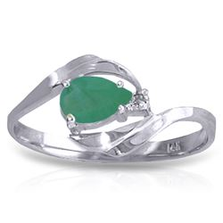 ALARRI 0.51 Carat 14K Solid White Gold Ring Natural Diamond Emerald