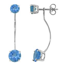 ALARRI 4.3 CTW 14K Solid White Gold Stud Drops Earrings Natural Blue Topaz