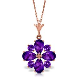 ALARRI 2.43 Carat 14K Solid Rose Gold Fair Winter Amethyst Necklace