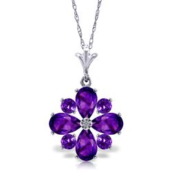 ALARRI 2.43 Carat 14K Solid White Gold Winter Twilight Amethyst Necklace