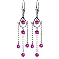 ALARRI 3 Carat 14K Solid White Gold Proof Of Love Pink Topaz Earrings