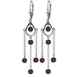 ALARRI 3 Carat 14K Solid White Gold No Absolute Completion Garnet Earrings