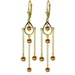 ALARRI 3 CTW 14K Solid Gold Gilded Age Citrine Earrings