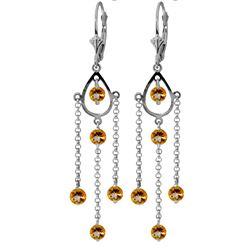 ALARRI 3 Carat 14K Solid White Gold Walking In The Sand Citrine Earrings