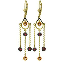 ALARRI 3 Carat 14K Solid Gold Gilded Age Citrine Garnet Earrings
