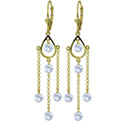 ALARRI 3 Carat 14K Solid Gold Chandelier Earrings Natural Aquamarine