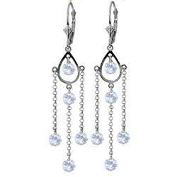 ALARRI 3 Carat 14K Solid White Gold Chandelier Earrings Natural Aquamarine