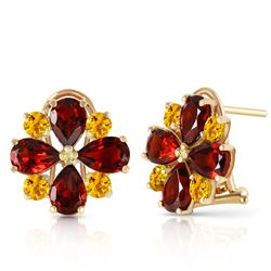 ALARRI 4.85 CTW 14K Solid Gold French Clips Earrings Garnet Citrine
