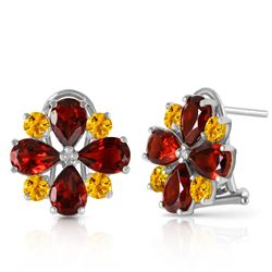 ALARRI 4.85 CTW 14K Solid White Gold French Clips Earrings Garnet Citrine