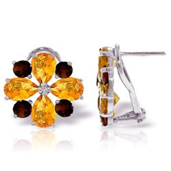 ALARRI 4.85 CTW 14K Solid White Gold French Clips Earrings Citrine Garnet