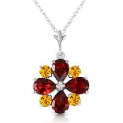 ALARRI 2.43 CTW 14K Solid White Gold Paved Path Garnet Citrine Necklace