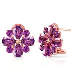 ALARRI 4.85 Carat 14K Solid Rose Gold Flower Amethyst Earrings