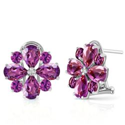 ALARRI 4.85 Carat 14K Solid White Gold Written In Stone Amethyst Earrings
