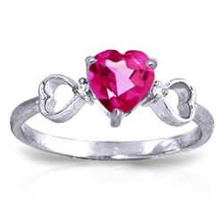 ALARRI 0.96 CTW 14K Solid White Gold Ring Diamond Pink Topaz
