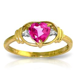 ALARRI 0.96 Carat 14K Solid Gold Breathgiving Pink Topaz Diamond Ring