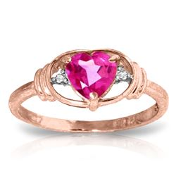 ALARRI 0.96 Carat 14K Solid Rose Gold Glory Pink Topaz Diamond Ring
