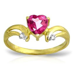 ALARRI 0.96 Carat 14K Solid Gold Live, Breathe Pink Topaz Diamond Ring