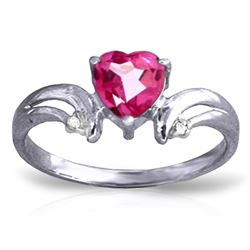 ALARRI 0.96 CTW 14K Solid White Gold Evening Song Pink Topaz Diamond Ring