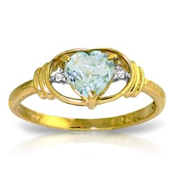 ALARRI 0.96 CTW 14K Solid Gold Versailles Aquamarine Diamond Ring