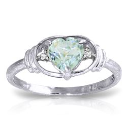 ALARRI 0.96 Carat 14K Solid White Gold Surrendering Aquamarine Diamond Ring