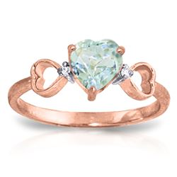 ALARRI 0.96 CTW 14K Solid Rose Gold Tri Heart Aquamarine Diamond Ring
