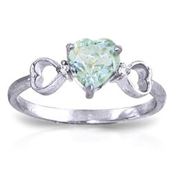 ALARRI 0.96 CTW 14K Solid White Gold Precious Illusions Aquamarine Diamond Ring