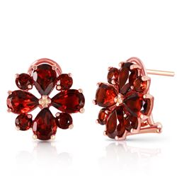 ALARRI 4.85 Carat 14K Solid Rose Gold Flower Garnet Clip Earrings