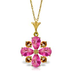 ALARRI 2.43 CTW 14K Solid Gold Necklace Natural Pink Topaz Citrine