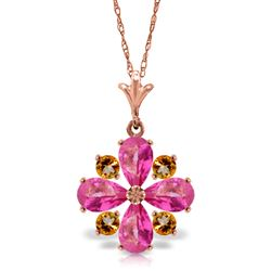 ALARRI 2.43 Carat 14K Solid Rose Gold Necklace Natural Pink Topaz Citrine