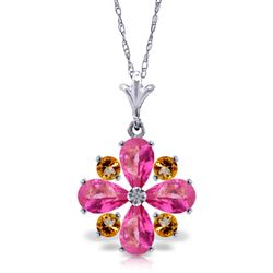 ALARRI 2.43 Carat 14K Solid White Gold Necklace Natural Pink Topaz Citrine
