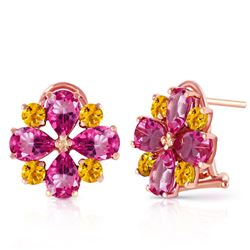 ALARRI 4.85 Carat 14K Solid Rose Gold French Clips Earrings Pink Topaz Citrine