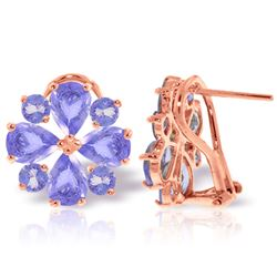 ALARRI 4.85 Carat 14K Solid Rose Gold French Clips Earrings Natural Tanzanite