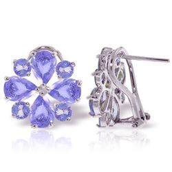 ALARRI 4.85 CTW 14K Solid White Gold French Clips Earrings Natural Tanzanite