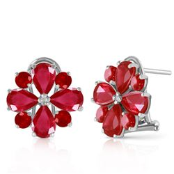 ALARRI 4.85 CTW 14K Solid White Gold French Clips Earrings Natural Ruby