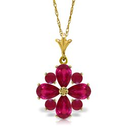 ALARRI 2.23 Carat 14K Solid Gold Rose In His Heart Ruby Necklace