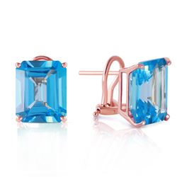 ALARRI 14 Carat 14K Solid Rose Gold Octagon Blue Topaz Earrings