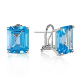 ALARRI 14 CTW 14K Solid White Gold Kubla Khan Blue Topaz Earrings