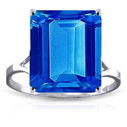 ALARRI 7 CTW 14K Solid White Gold Ring Natural Octagon Blue Topaz