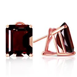 ALARRI 14 Carat 14K Solid Rose Gold Octagon Garnet Earrings